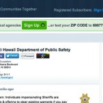 Screen shot of the Department of Public Safety's Nixle alert page.