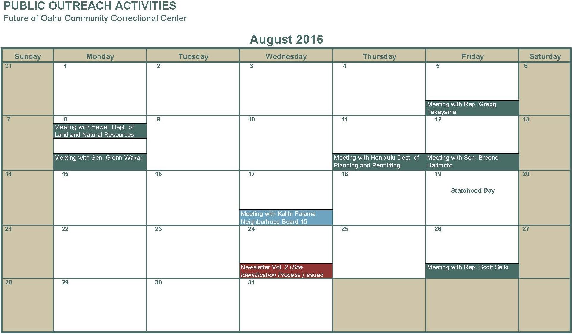August 2016 Meetings attended