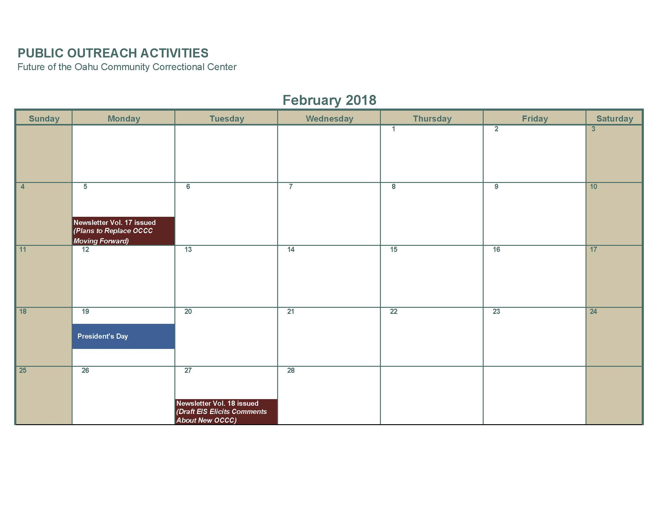 February 2019 Two activities