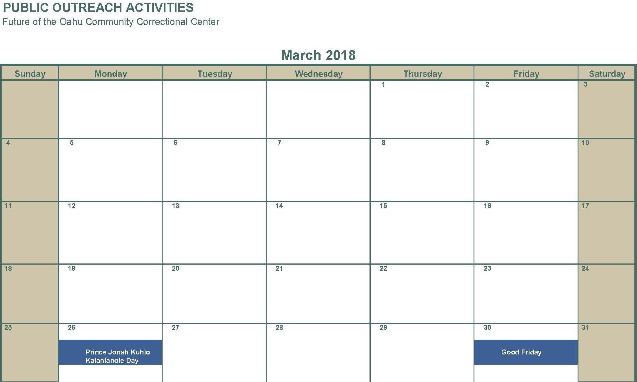 March 2018 no activities