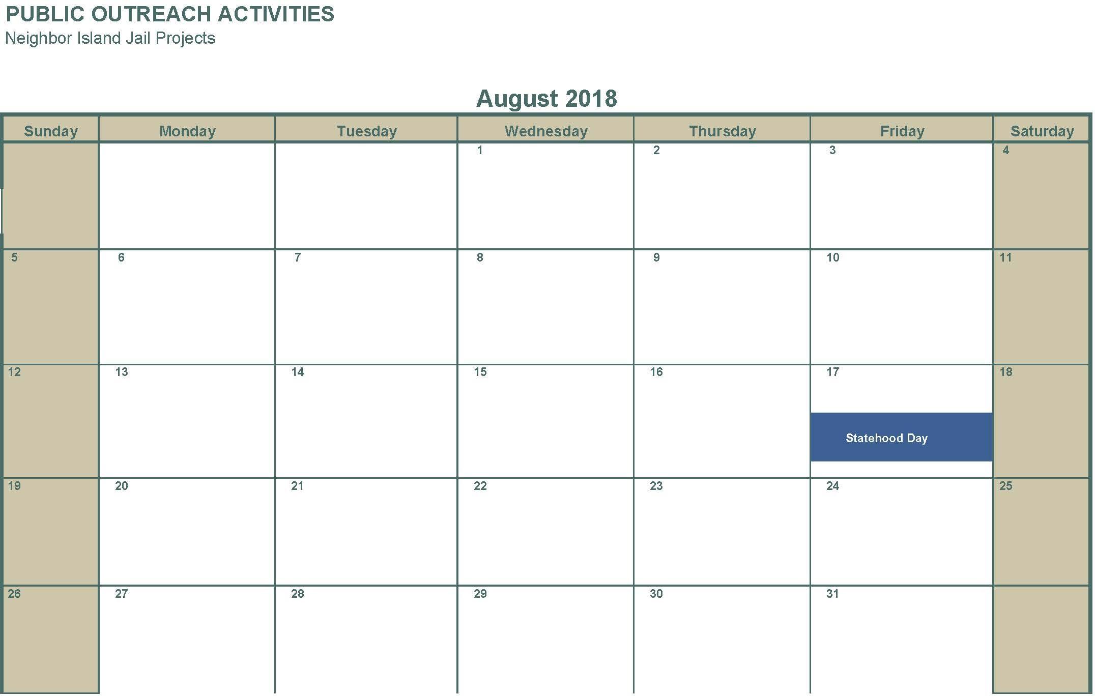 August 2018 No activities