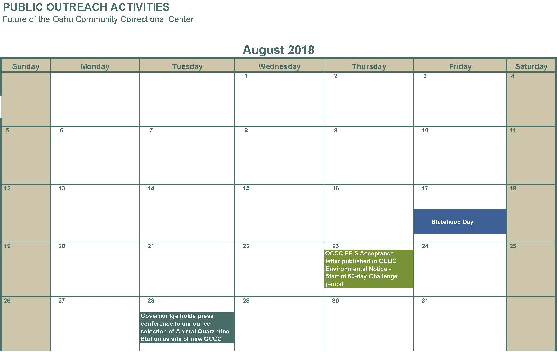 August 2018 OCCC Environmental Notice 60 day Challenge Period starts