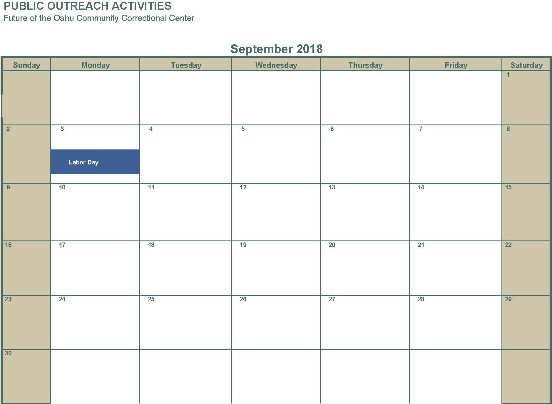 September 2018 No activities