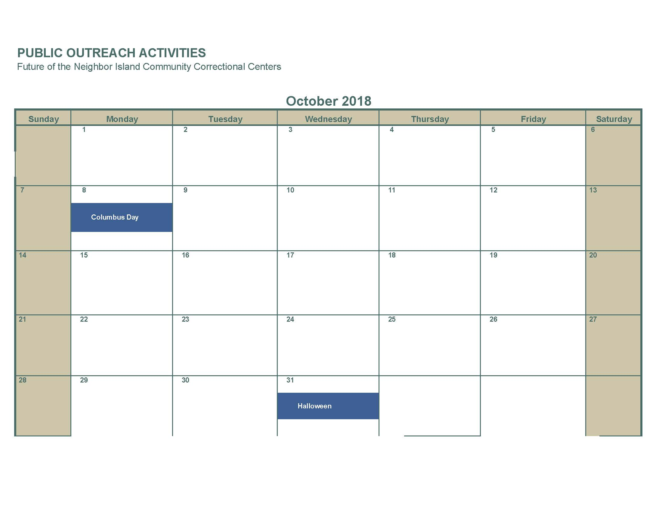 October 2018 No activities