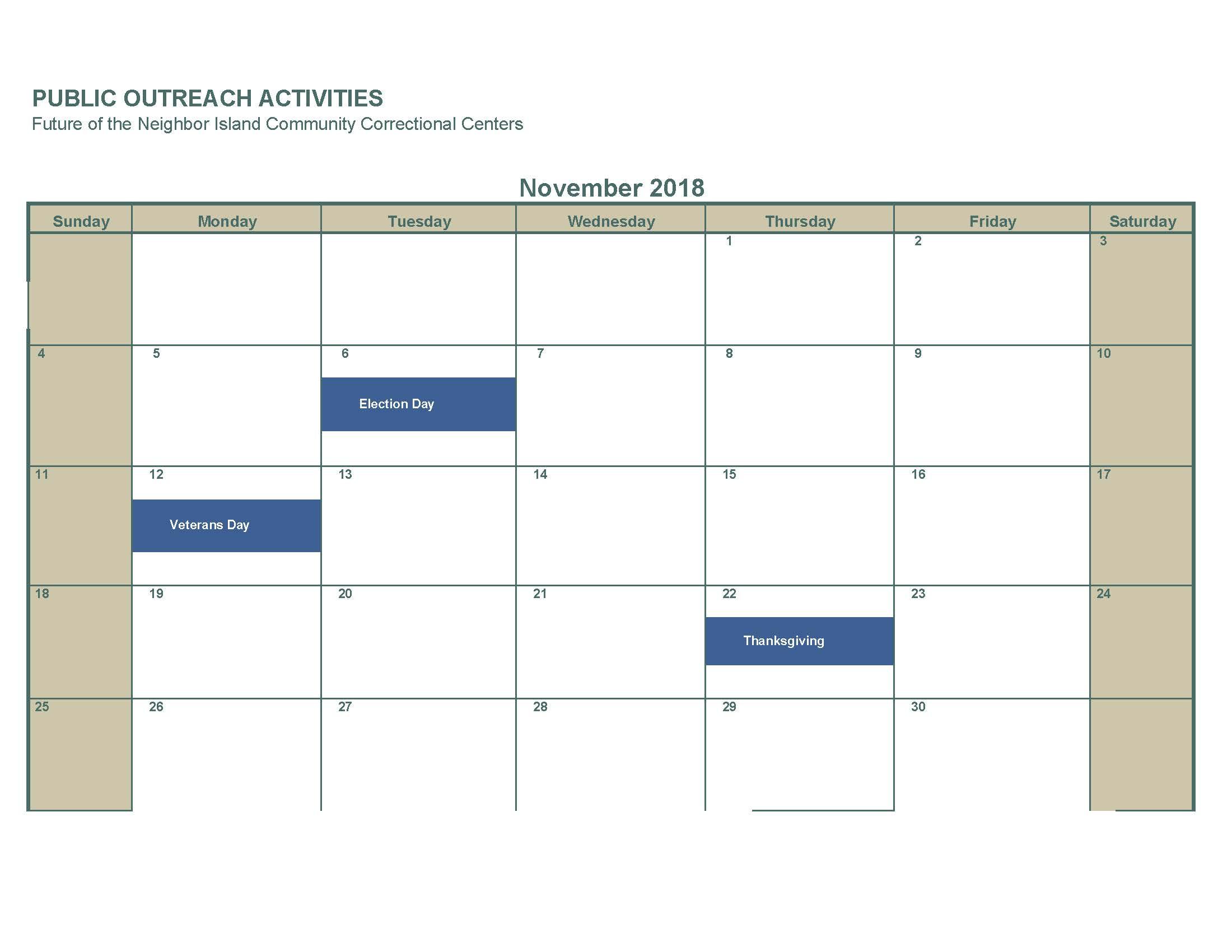 November 2018 No activities