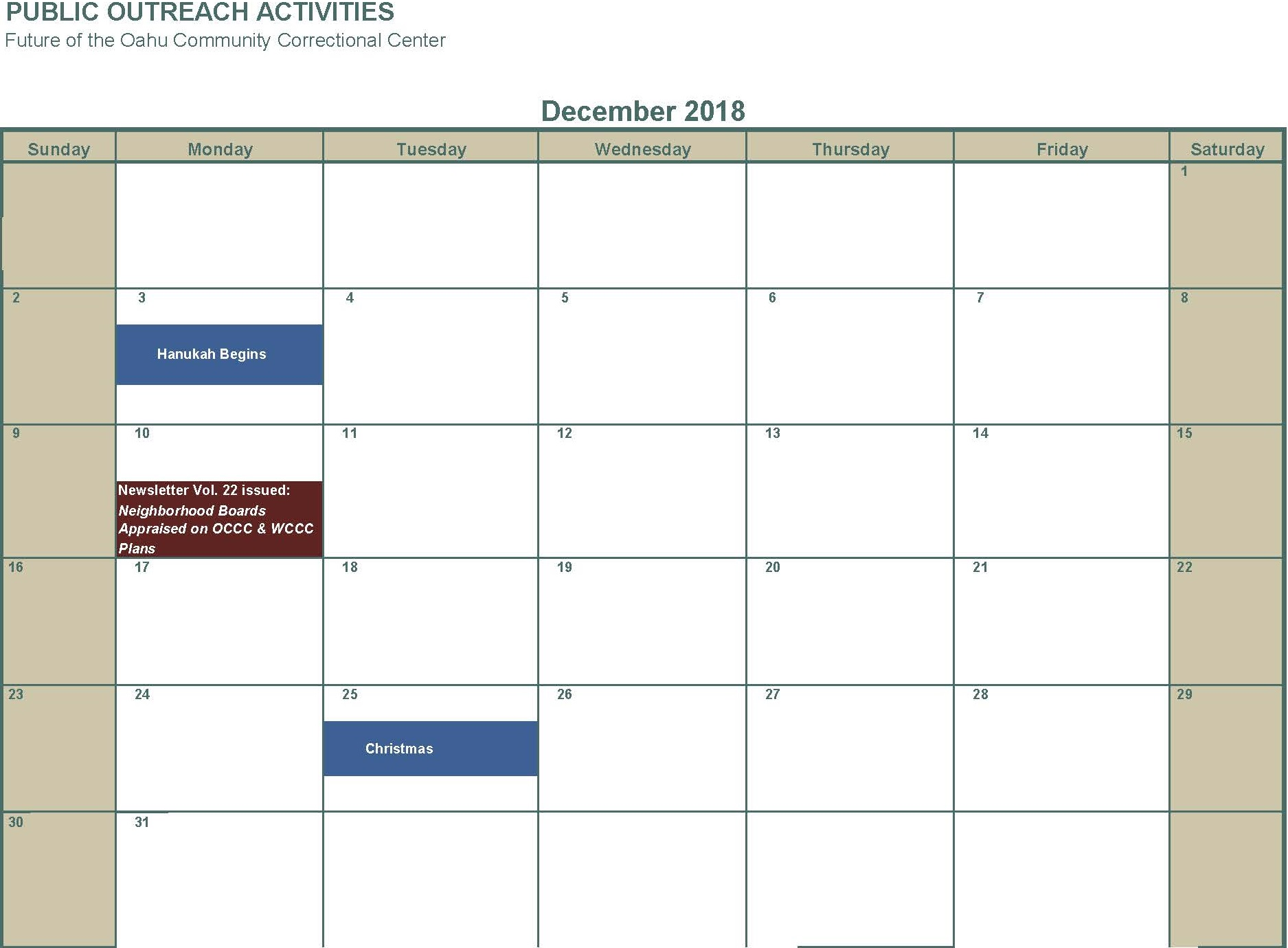 December 2018 Newsletter Neighborhood Boards Appraised on OCCC WCCC plans