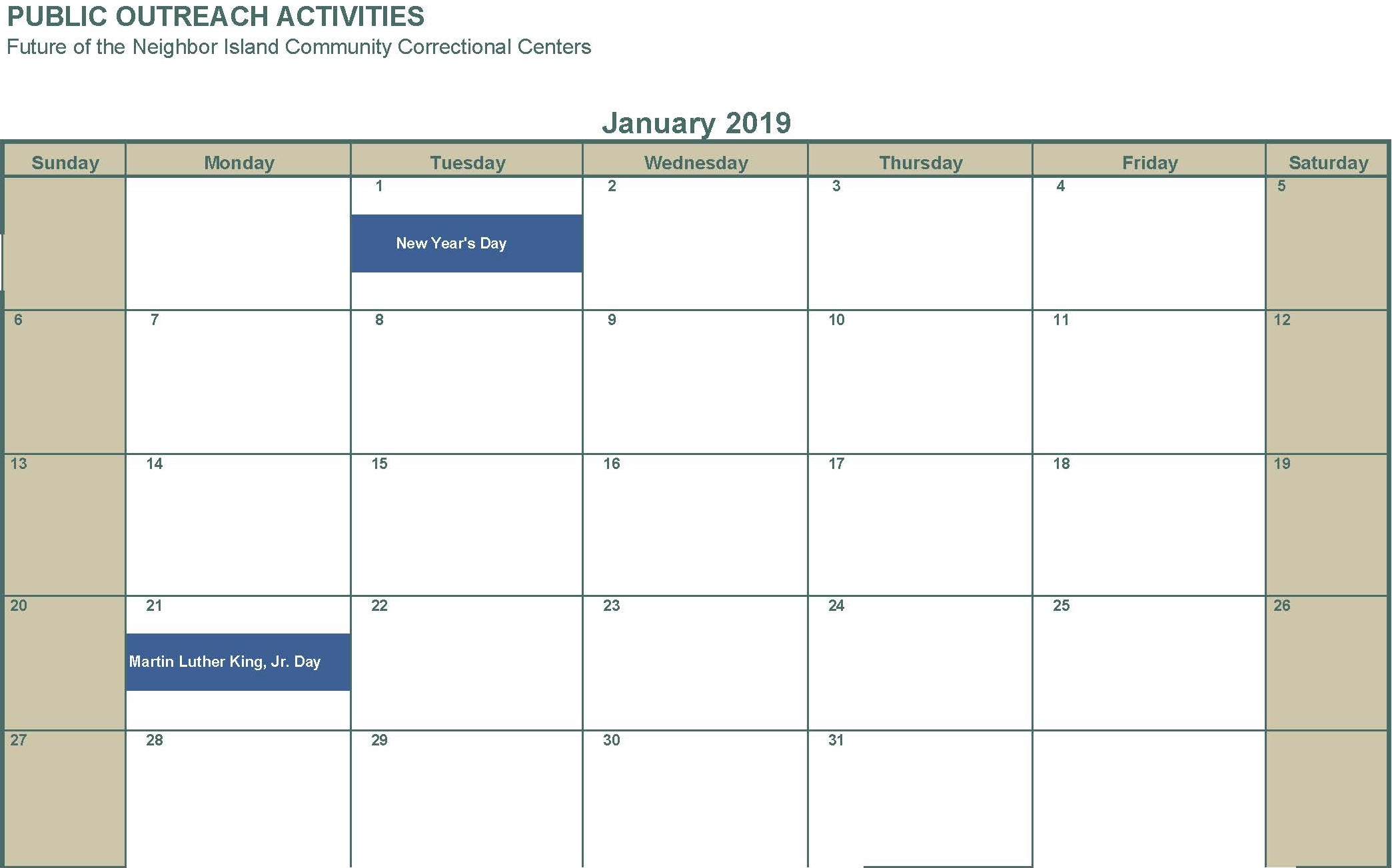 January 2019 No activities
