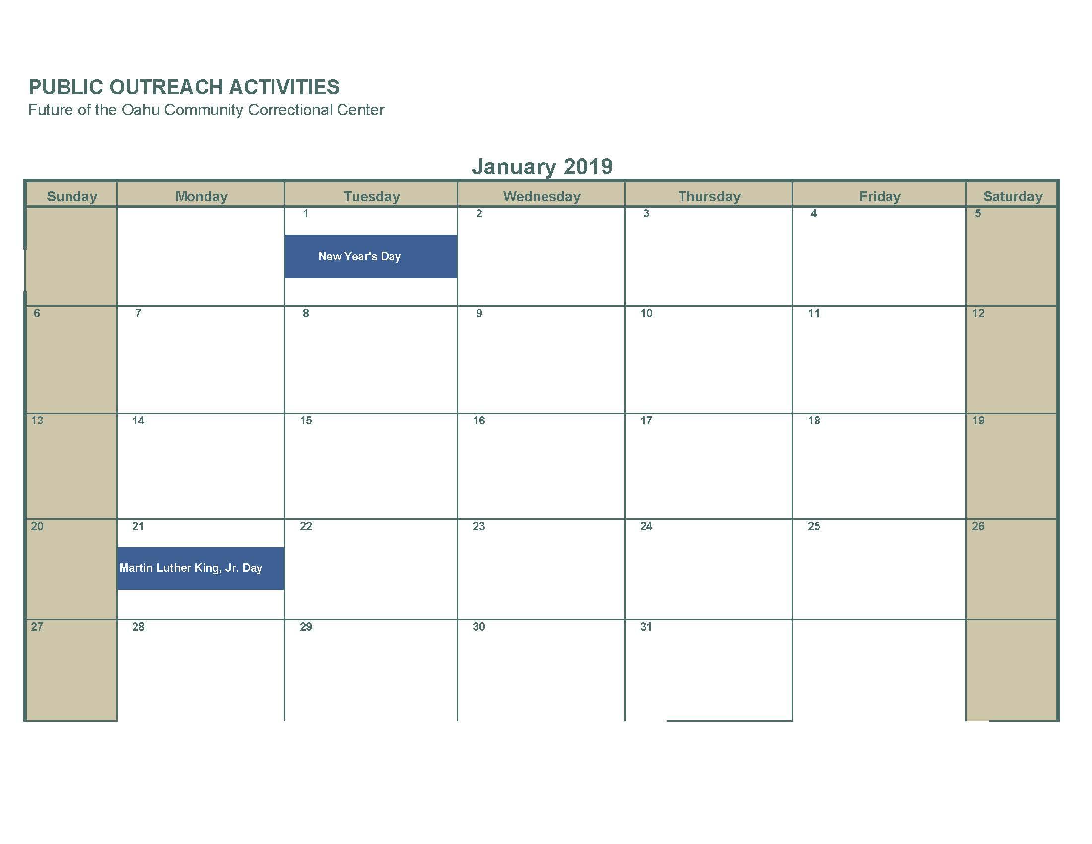 January 2019 no activities