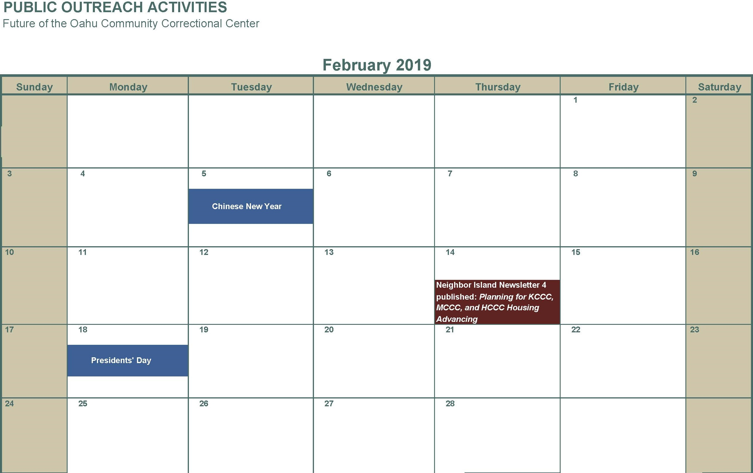 February 2019 Newsletter Planning for KCCC MCCC and HCCC Housing