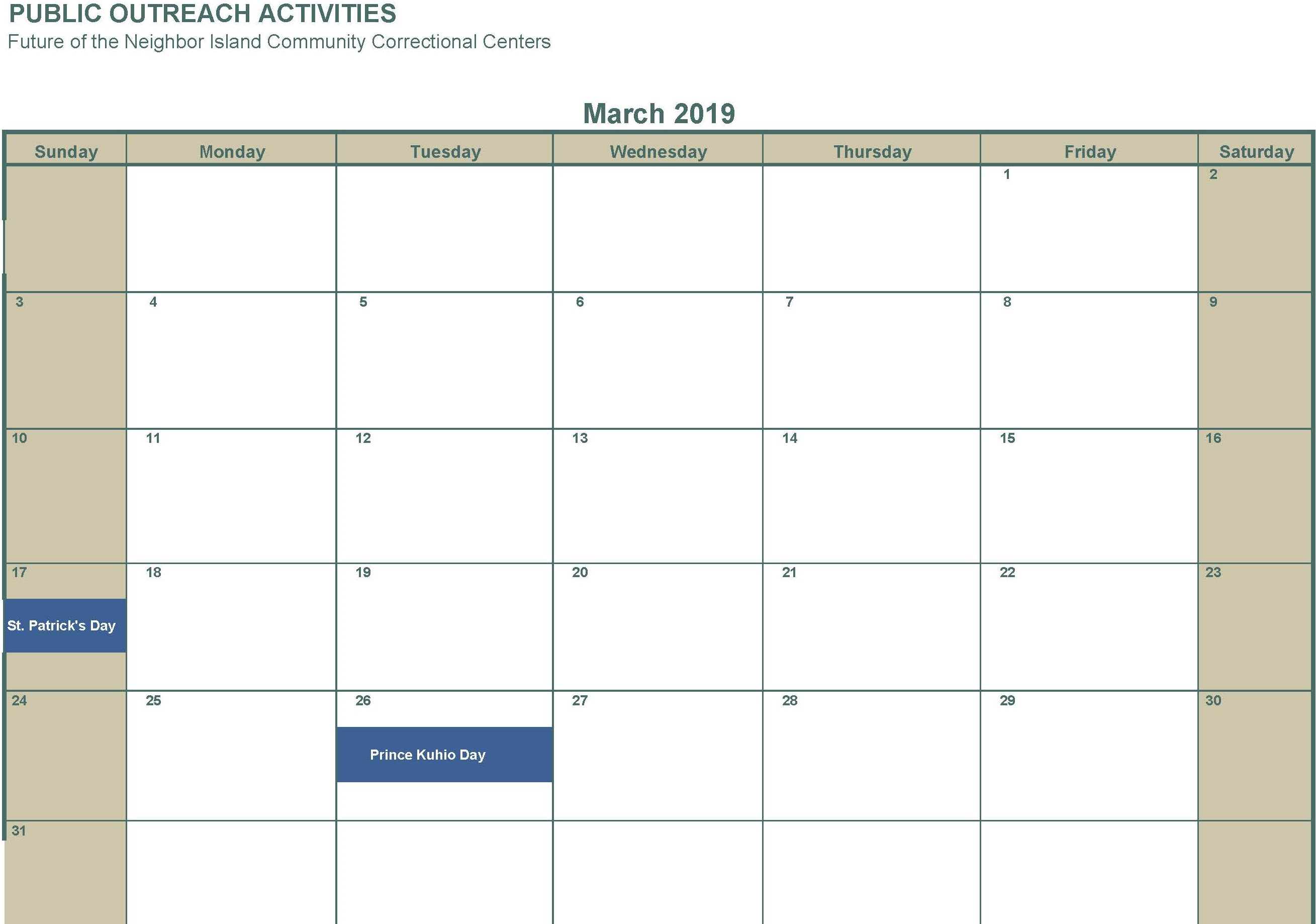 March 2019 No activities
