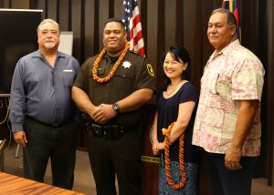 Sergeant Kekaulike with Administrators