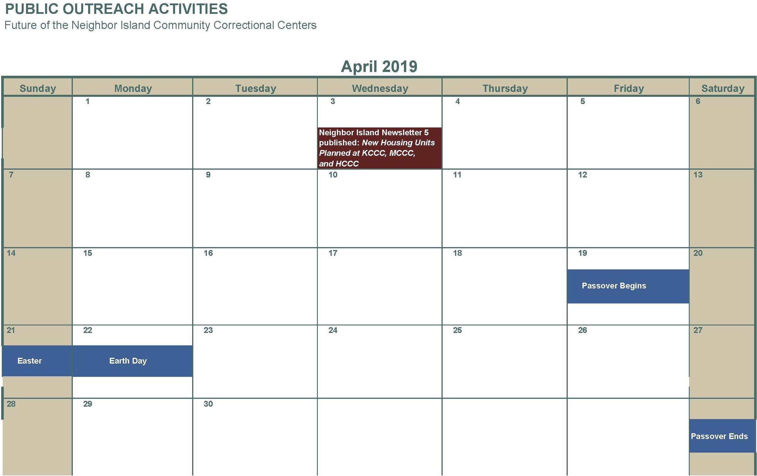 April 2019 no activities