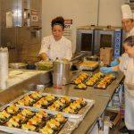 students preparting food