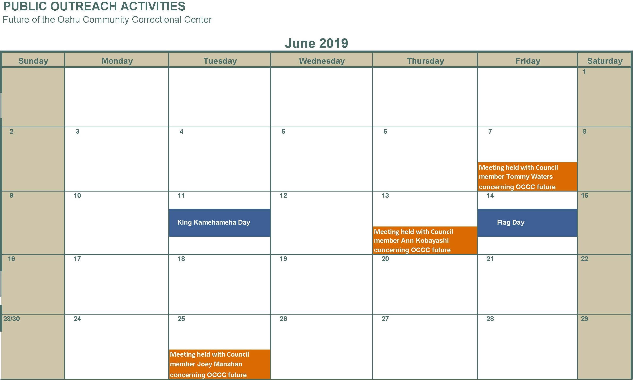 June 2019 Individual meetings with Council member Tommy Waters Ann Kobayashi and Joey Manahan