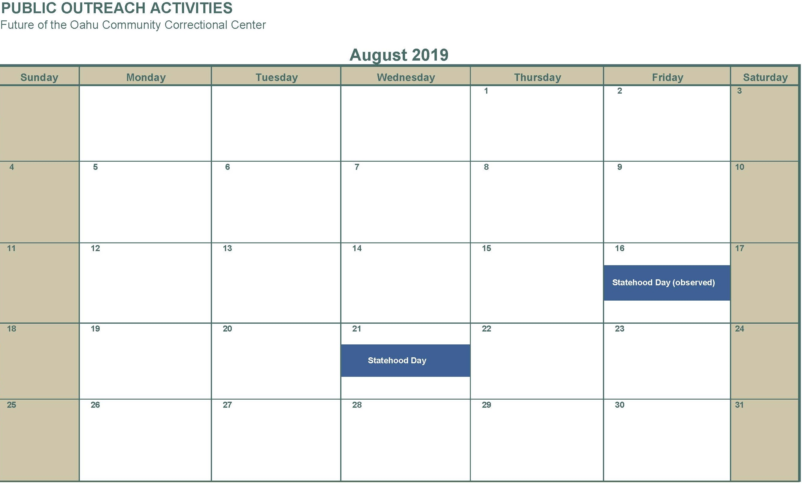 August 2019 no activities listed