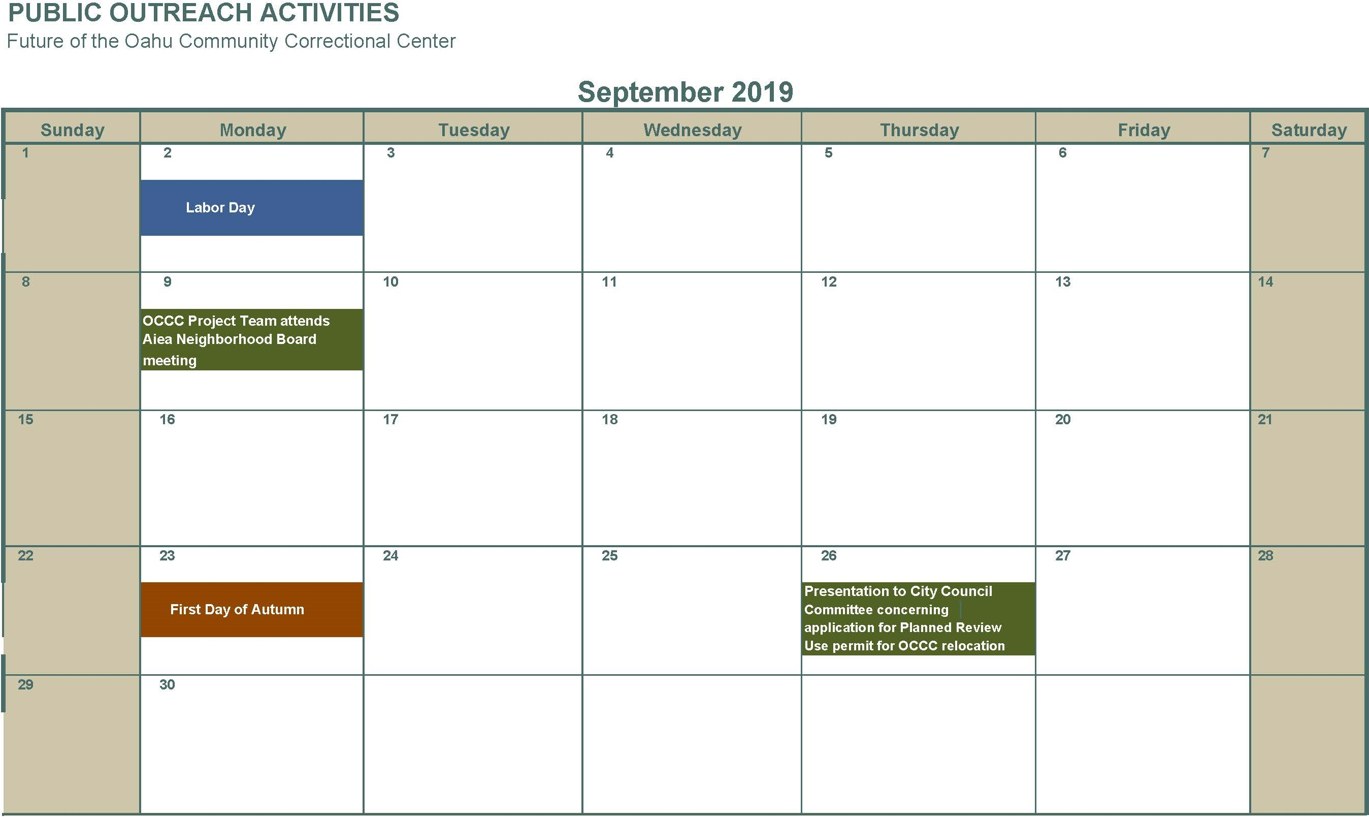 September 2019 no activities listed